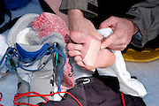 Mountaineer putting moleskin on feet to protect against blisters, California