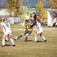 2nd year forward, Meghan McFee (3) of the Regina Cougars during the Women's Soccer away game on Sat Oct 06 at Universtity of Saskatchewan . Credit: Arthur Ward/Arthur Images