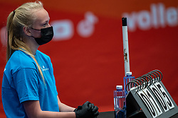 Court crew in action during the cup final between Amysoft Lycurgus vs. Draisma Dynamo on April 18, 2021 in sports hall Alfa College in Groningen