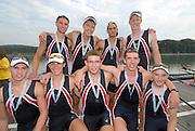 Ottensheim, AUSTRIA.  A  Final,  USA JM8+   Silver Medallist, at the 2008 FISA Senior and Junior Rowing Championships,  Linz/Ottensheim. Saturday,  26/07/2008.  [Mandatory Credit: Peter SPURRIER, Intersport Images] Rowing Course: Linz/ Ottensheim, Austria