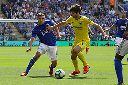 May 12, 2019 - Leicester, England, United Kingdom - Leicester City midfielder Marc Albrighton battling with Marcos Alonso during the Premier League match between Leicester City and Chelsea at the King Power Stadium, Leicester on Sunday 12th May 2019. (Credit Image: © Mi News/NurPhoto via ZUMA Press)