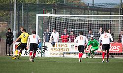 Edinburgh City's Douglas Gair scoring their goal. Edinburgh City became the first club to be promoted to Scottish League Two. East Stirling 0 v 1 Edinburgh City, League play-off game.