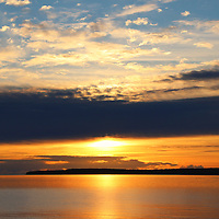 """""""Golden Promise""""<br /> <br /> Beautiful golden hues and shimmering glows in a lovely sunrise image over Lake Huron in Michigan's Upper Peninsula!<br /> <br /> Sunrise Images by Rachel Cohen"""