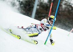 """Mireia Gutierrez (AND) competes during 1st Run of FIS Alpine Ski World Cup 2017/18 Ladies' Slalom race named """"Snow Queen Trophy 2018"""", on January 3, 2018 in Course Crveni Spust at Sljeme hill, Zagreb, Croatia. Photo by Vid Ponikvar / Sportida"""