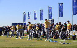 Team Europe on the practice range during preview day four of the Ryder Cup at Le Golf National, Saint-Quentin-en-Yvelines, Paris. PRESS ASSOCIATION Photo. Picture date: Thursday September 27, 2018. See PA story GOLF Ryder. Photo credit should read: Gareth Fuller/PA Wire. RESTRICTIONS: Editorial use only. No commercial use.
