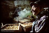 Edward Beas, b.1899, the oldest worker @ Missouri Meerschaum, smokes corn cob pipe; Washington Missouri