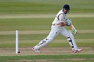 James Faulkner slices the ball during the LV County Championship Div 2 match between Gloucestershire County Cricket Club and Lancashire County Cricket Club at the Bristol County Ground, Bristol, United Kingdom on 7 June 2015. Photo by Alan Franklin.