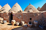 """Pictures of the beehive adobe buildings of Harran, south west Anatolia, Turkey.  Harran was a major ancient city in Upper Mesopotamia whose site is near the modern village of Altınbaşak, Turkey, 24 miles (44 kilometers) southeast of Şanlıurfa. The location is in a district of Şanlıurfa Province that is also named """"Harran"""". Harran is famous for its traditional 'beehive' adobe houses, constructed entirely without wood. The design of these makes them cool inside. 16 .<br /> <br /> If you prefer to buy from our ALAMY PHOTO LIBRARY  Collection visit : https://www.alamy.com/portfolio/paul-williams-funkystock/harran.html<br /> <br /> Visit our TURKEY PHOTO COLLECTIONS for more photos to download or buy as wall art prints https://funkystock.photoshelter.com/gallery-collection/3f-Pictures-of-Turkey-Turkey-Photos-Images-Fotos/C0000U.hJWkZxAbg ."""