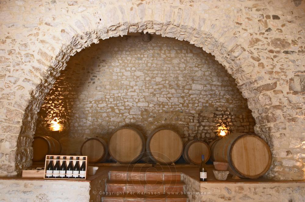 Domaine Ermitage du Pic St Loup, Chateau Ste Agnes. Pic St Loup. Languedoc. Barrel cellar. France. Europe.