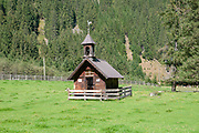 Small rural mountain chapel in Stubai Valley, Tyrol, Austria