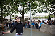 Can you jump as high as Cristiano Ronaldo? Game set up on the walkway by tv sport company. The South Bank is a significant arts and entertainment district, and home to an endless list of activities for Londoners, visitors and tourists alike.