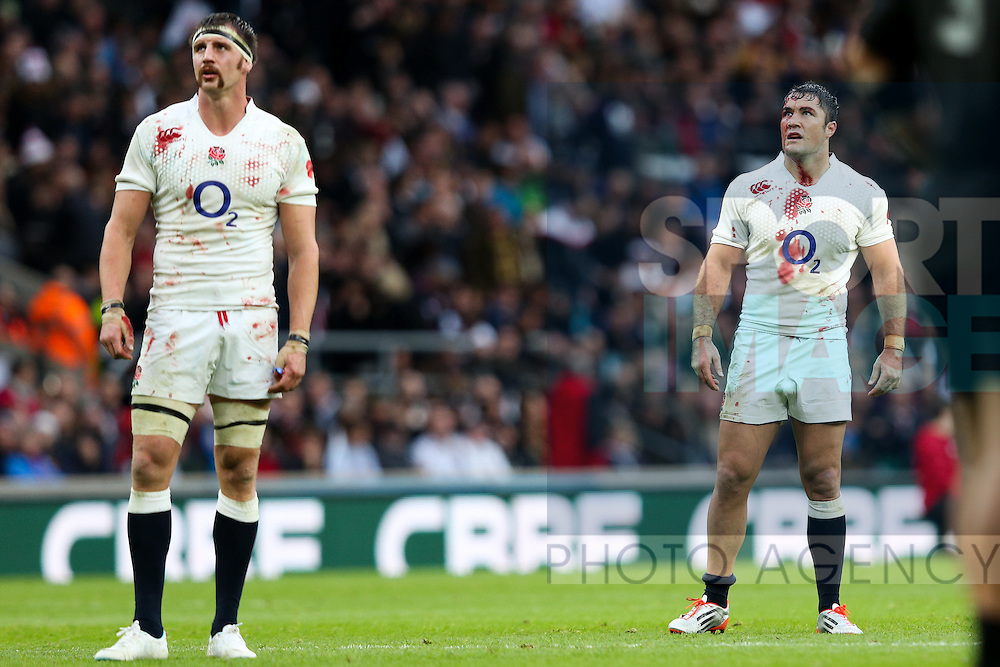A bloodied England's Tom Wood and England's Brad Barritt - QBE Autumn Internationals - England vs New Zealand - Twickenham Stadium - London - 08/11/2014 - Pic Charlie Forgham-Bailey/Sportimage