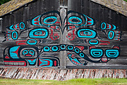 Tlingit art on Fort Seward tribal house. Fort William H. Seward National Historic Landmark, 1902-1945. Port Chilkoot, Haines, Alaska, USA. Also known as Chilkoot Barracks and Haines Mission, it was the last of 11 military posts in Alaska during the gold rush era, and Alaska's only military facility between 1925 and 1940. It policed miners moving into the gold mining areas in the Alaskan interior, and provided military presence during negotiations over the nearby international border with Canada. William H. Seward was the United States Secretary of State who oversaw the Alaska purchase.