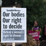 2021-09-04 London, UK. My body my choice counts attacks pro-life march at Parliament Square.