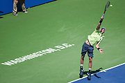 KEVIN ANDERSON hits a serve during his semifinal match at the Citi Open at the Rock Creek Park Tennis Center in Washington, D.C.