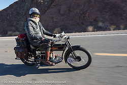Vern Acres of Ontario, Canada riding his 4-cylinder 1914 Henderson class-2 motorcycle as he leaves Lake Havasu City during the Motorcycle Cannonball Race of the Century. Stage-14 ride from Lake Havasu CIty, AZ to Palm Desert, CA. USA. Saturday September 24, 2016. Photography ©2016 Michael Lichter.