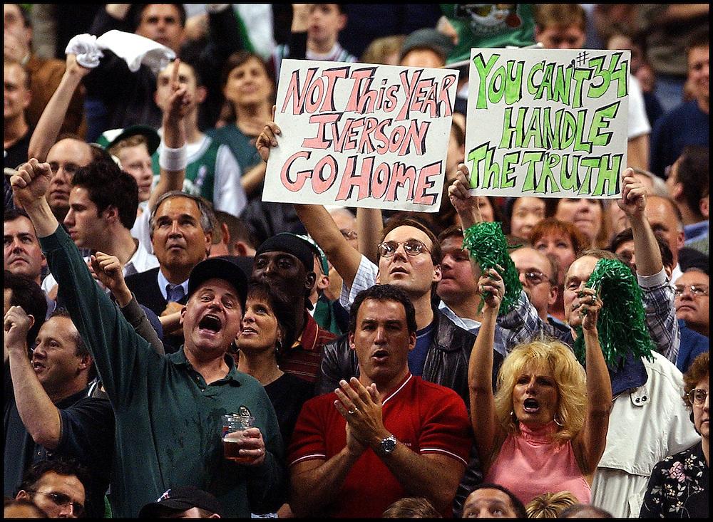 (05/03/2002-Boston, MA) Boston Celtics vs the Philadelphia 76er's.  Celtics fans celebrate late in the 4th Q. as the Celtics pull away from 76er's. (050302celticsmjs-Staff Photo by Michael Seamans. Saved in Photo Sat.)