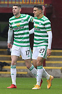 GOAL 0-1 Mohamed Elyounoussi (Celtic) celebrates his first goal with Ryan Christie (Celtic) during the Scottish Premiership match between Motherwell and Celtic at Fir Park, Motherwell, Scotland on 8 November 2020.