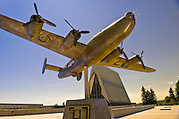 Model of B24 liberator airplane, Honor Court (Cadet Chapel in background), Air Force Academy, near Colorado Springs, Colorado USA