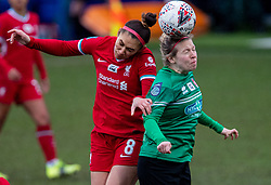 BIRKENHEAD, ENGLAND - Sunday, March 14, 2021: Liverpool's Jade Bailey (L) challenges for a header with Coventry United's Helen Dermody during the FA Women's Championship game between Liverpool FC Women and Coventry United Ladies FC at Prenton Park. Liverpool won 5-0. (Pic by David Rawcliffe/Propaganda)