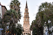 St Philips church steeple early morning in historic Charleston, SC.