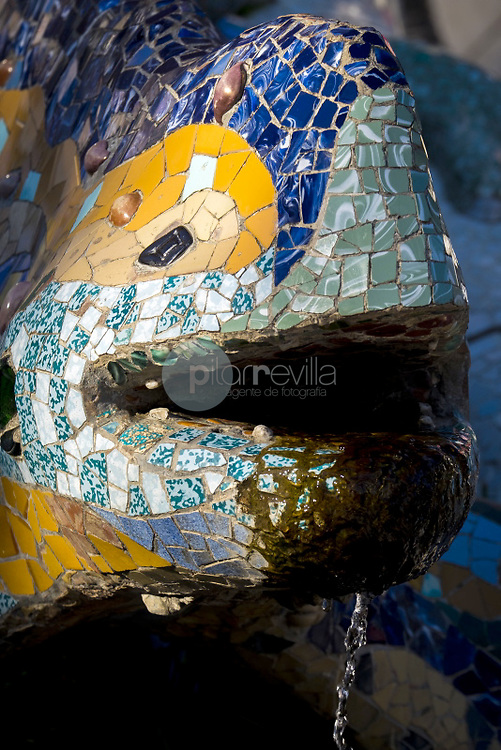 Detail of decoration of the dragon that guards the entrance to Park Güell (Gaudí, 1900-1914). Barcelona, Catalonia, Spain ©Carlos Sánchez Pereyra / PILAR REVILLA