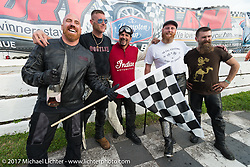 Billy Lane with race winner Ebay Jake and Moonshiner Josh Owens, Matt Harris and Matt Walkser at his Sons of Speed vintage motorcycle racing during Biketoberfest. Daytona Beach, FL, USA. Saturday October 21, 2017. Photography ©2017 Michael Lichter.