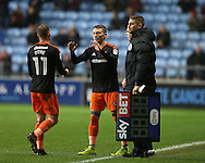 Caolan Lavery of Sheffield Utd replaces Matt Done of Sheffield Utd during the English League One match at the Rioch Arena Stadium, Coventry. Picture date: December 15th, 2016. Pic Simon Bellis/Sportimage