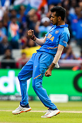 Yuzvendra Chahal of India celebrates taking the wicket of Kane Williamson of New Zealand - Mandatory by-line: Robbie Stephenson/JMP - 09/07/2019 - CRICKET - Old Trafford - Manchester, England - India v New Zealand - ICC Cricket World Cup 2019 - Semi Final
