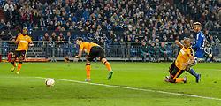 26.11.2015, Veltins-Arena, Gelsenkirchen, GER, UEFA EL, Schalke 04 vs Apoel Nikosia, Gruppe K, im Bild Eric Maxim Choupo-Moting (FC Schalke 04) mit dem Fuehrungs Tor zum 1:0 // during UEFA Europa League group k match between Schalke 04 and Apoel Nikosia at the Veltins-Arena in Gelsenkirchen, Germany on 2015/11/26. EXPA Pictures © 2015, PhotoCredit: EXPA/ Eibner-Pressefoto/ Schueler<br /> <br /> *****ATTENTION - OUT of GER*****