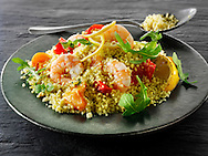 Couscous with tiger prawns