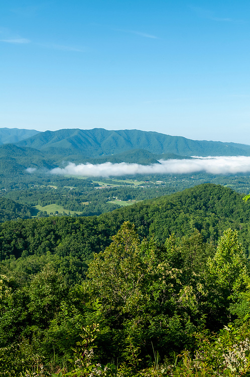 Fog covers the valley near the Cove Mountain Overlook on the Foothills Parkway in Great Smoky Mountains National Park in Wears Valley, Tennessee on Wednesday, August 12, 2020. Copyright 2020 Jason Barnette