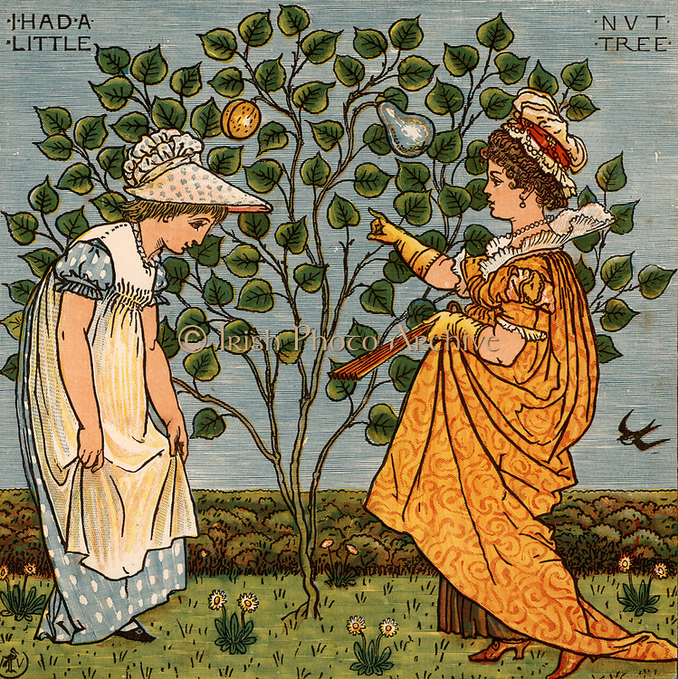 I had a little nut tree and nothing would it bear. Illustration by the English artist  Walter Crane (1845-1915) for a book of nursery rhymes 'Sing a Song of Sixpence'  (London, 1866). Colour-printed wood engraving.