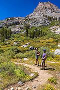 Hikers in the Big Pine Lakes basin, John Muir Wilderness, California USA