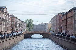 10 June 2017, Saint Petersburg, Russia. Being a coastal city, Saint Petersburg features the estuary of the River Neva, as well as a series of channels providing transportways between the diffent areas of the city, as transport by boat was common in the days of the foundation of the city.