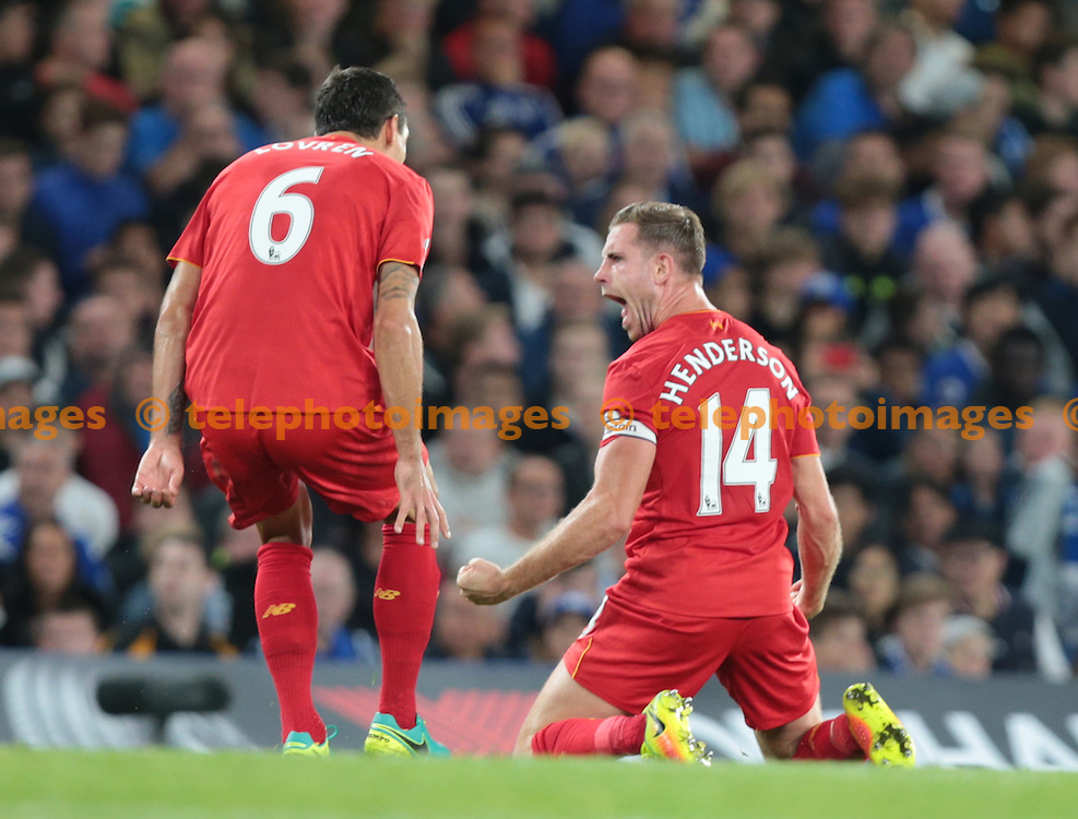 Liverpool's Jordan Henderson celebrates scoring his sides second goal <br /> during the Premier League match between Chelsea and Liverpool at Stamford Bridge in London. September 16, 2016.<br /> James Galvin / Telephoto Images<br /> +44 7967 642437