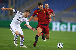 December 5, 2017 - Rome, Italy - Maksim Medvedev of Qarabag and Kevin Strootman of Roma during the UEFA Champions League Group C football match AS Roma vs FK Qarabag on December 5, 2017 at the Olympic stadium in Rome, Italy. (Credit Image: © Matteo Ciambelli/NurPhoto via ZUMA Press)