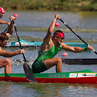 Raimundas Labuckas (R) and Tomas Gadeikis (L) from Lithuania paddle their boat in the C2 men Canoe 200m final of the 2011 ICF World Canoe Sprint Championships held in Szeged, Hungary on August 21, 2011. ATTILA VOLGYI