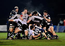 The two teams battle for the ball - Photo mandatory by-line: Dougie Allward/JMP - Tel: Mobile: 07966 386802 08/03/2013 - SPORT - RUGBY - Memorial Stadium - Bristol. Bristol v Nottingham - RFU Championship.