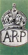 Air Raid Precautions': Set of 50 cards issued by WD & H0 Wills, Britain 1938, in preparation for the anticipated coming of World War II.  Representation of Air Raid Precautions (ARP) badge.