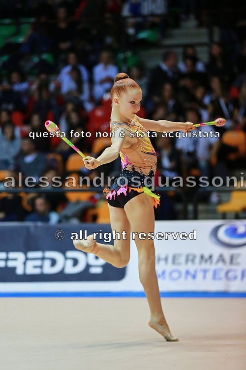 Eleonora Ressia atleta della società Eurogymnica di Torino durante la seconda prova del Campionato Italiano di Ginnastica Ritmica.<br /> La gara si è svolta a Desio il 31 ottobre 2015.