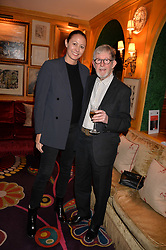 Chris Moore and Caroline Rush attend CATWALKING, PHOTOGRAPHS BY CHRIS MOORE party hosted by The British Fashion Council & Laurence King Publishing at Annabel's, Mayfair, London England. 6 November 2017.