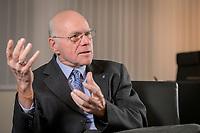 17 DEC 2019, BERLIN/GERMANY:<br /> Norbert Lammert, CDU, Vorsitzender der Konrad-Adenauer-Stiftung, KAS, waehrend einem Interview, in seinem Buero, Konrad-Adenauer-Stiftung<br /> IMAGE: 20191217-02-012<br /> KEYWORDS: Büro