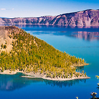 Wizard Island sits in the middle of Crater Lake at Crater Lake national Park in Oregon.