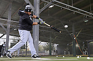GLENDALE, ARIZONA - FEBRUARY 19:  Melky Cabrera #53 of the Chicago White Sox hits in the batting cage with a weighted donut on his bat during spring training workouts on February 19, 2017 at Camelback Ranch in Glendale Arizona.  (Photo by Ron Vesely). Subject:  Melky Cabrera