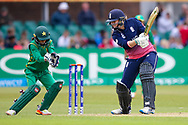 England womens cricket player Anya Shrubsole  cuts the ball during the ICC Women's World Cup match between England and Pakistan at the Fischer County Ground, Grace Road, Leicester, United Kingdom on 27 June 2017. Photo by Simon Davies.