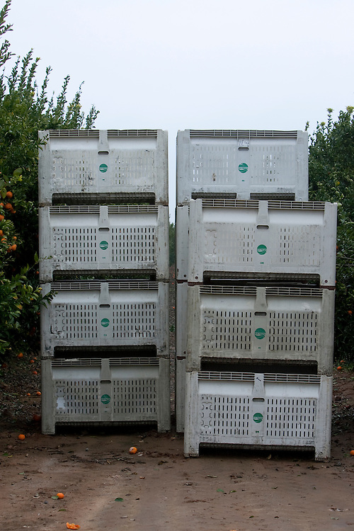 Large crates used by the migrant workers to fill with fruit. Please contact Todd Bigelow directly with your licensing requests.