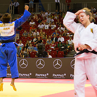 Rafaela Silva (L) of Brazil celebrates her victory against Theresa Stoll (R) of Germany during the Women -57 kg category at the Judo Grand Prix Budapest 2018 international judo tournament held in Budapest, Hungary on Aug. 10, 2018. ATTILA VOLGYI