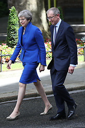 June 9, 2017 - London, London, United Kingdom - Image licensed to i-Images Picture Agency. 09/06/2017. London, United Kingdom. Prime Minister Theresa May  and her husband Philip arriving back in Downing Street in London , after seeing The Queen after the General Election. Picture by Stephen Lock / i-Images (Credit Image: © Stephen Lock/i-Images via ZUMA Press)