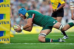 Leicester Tigers second row Graham Kitchener dives for the try line - Photo mandatory by-line: Patrick Khachfe/JMP - Tel: Mobile: 07966 386802 - 21/09/2013 - SPORT - RUGBY UNION - Welford Road Stadium - Leicester Tigers v Newcastle Falcons - Aviva Premiership.